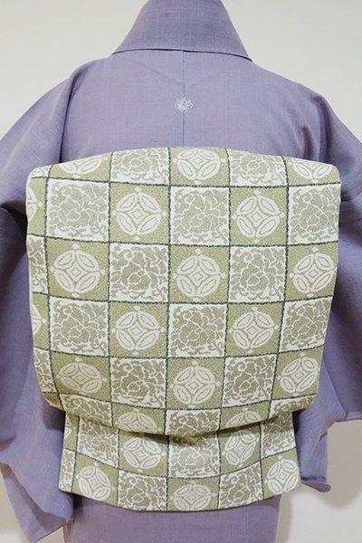 あおき【L-2099】袋帯 絹鼠色 遠州七宝文