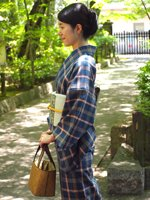 あおき【着物1624】ざざんざ織 単衣着物 高麗納戸色×墨色×白橡色 格子