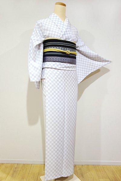 WEB限定【D-1296】単衣 小紋 白梅鼠色 市松 (しつけ付・新品)