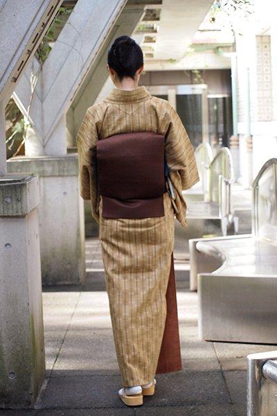 銀座【着物1653】芝崎重一作 草木花染 紬織 着物 (反端・しつけ付)