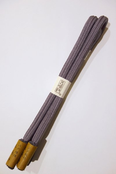 世田谷【S-725】五嶋紐 正絹 帯締め 冠組 25  紅消鼠色 (新品)