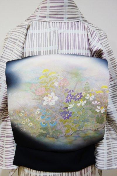 あおき【K-3570】塩瀬地 染名古屋帯 黒色 野の花の図