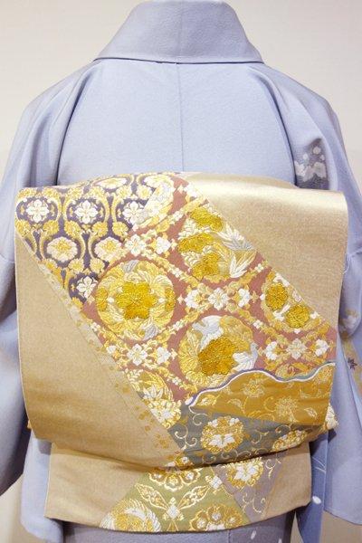 あおき【L-2517】じゅらく製 袋帯 金色 裂取りに有職文(落款入)