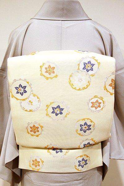 あおき【L-2557】西陣製 袋帯 鳥の子色 花の丸文