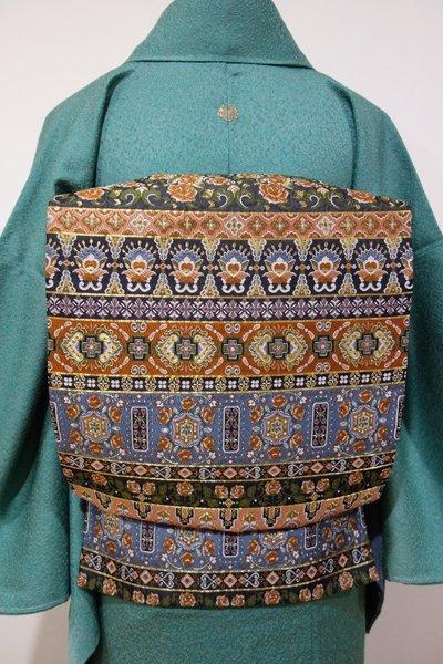 あおき【L-2619】袋帯 羊羹色×遠州茶色×薄花色 オリエンタルな装飾文