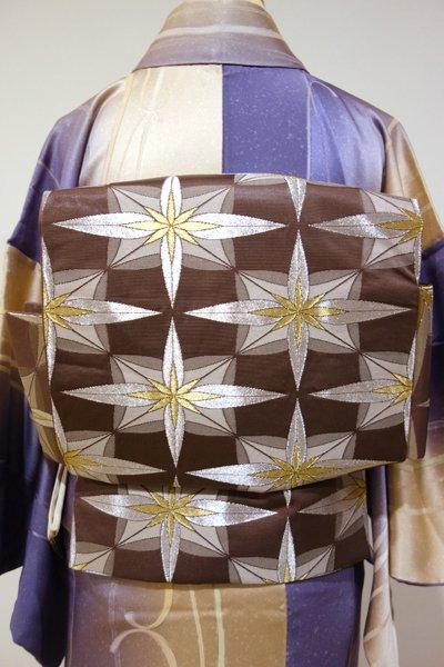 銀座【K-3724】二部式付け帯 織名古屋帯 焦茶色 幾何文
