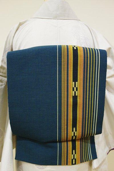 銀座【K-3728】ミンサー織 開き八寸名古屋帯 深い藍色 絣文
