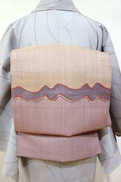 WEB限定【L-2663】紗紬 洒落袋帯 鴇浅葱色×赤白橡色 波の様な抽象文