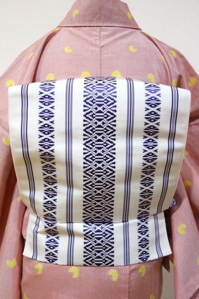 銀座【K-3749】博多織 八寸名古屋帯 白色×深紫色 献上柄(未使用)