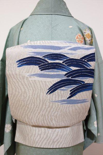 あおき【L-2665】袋帯 絹鼠色 抽象的な波の図