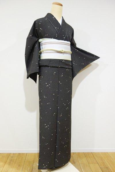 あおき【D-1470】単衣 小紋 黒色 大小霰文(しつけ付)(N)