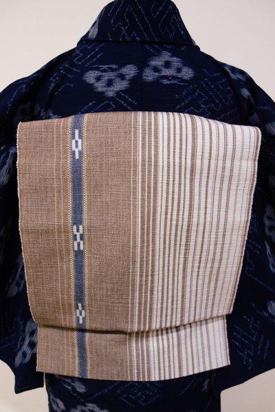 銀座【K-3801】ミンサー織 八寸名古屋帯 白×白茶色 絣文(端布付き)