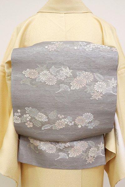あおき【L-2703】紗 袋帯 薄鈍色 吹き寄せの横段