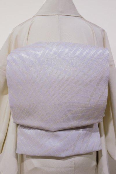 あおき【L-2710】西陣 洛陽織物製 夏 袋帯 桜鼠色 幾何文(証紙付)(N)