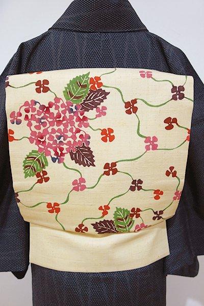 WEB限定【K-3843】紬地 型絵名古屋帯 浅黄色 紫陽花の図