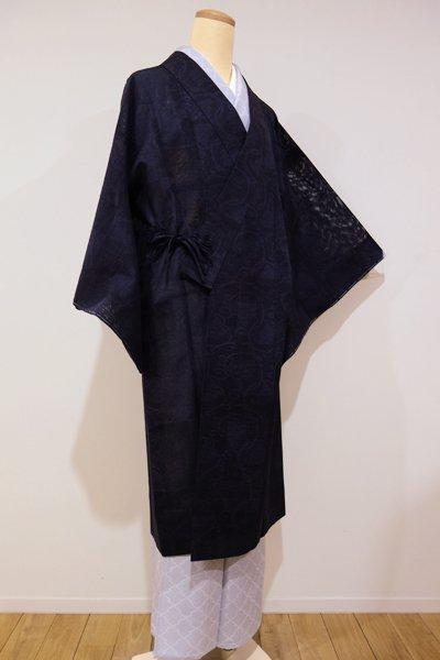 世田谷-1【E-650】紋紗 道中着 紫黒色 市松に花唐草文
