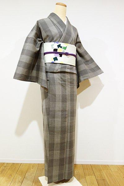 あおき【A-1955】単衣 縮織り 古志紬 消炭色 格子(しつけ付)