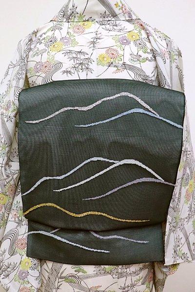 あおき【L-2748】絽 袋帯 虫襖色 波のような抽象文