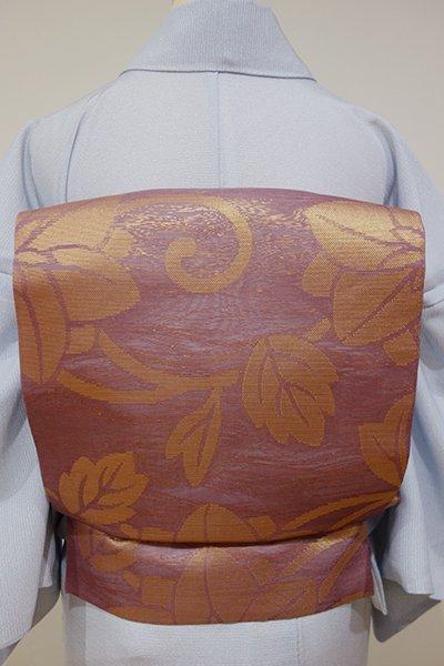 あおき【L-2753】西陣 織悦製 紗 袋帯 浅蘇芳色 大らかな花唐草文(落款入り)