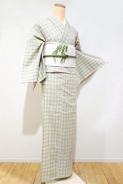 銀座【A-1964】紺仁製 片貝木綿 単衣 紬 若葉色 格子(しつけ付・反端付)(N)
