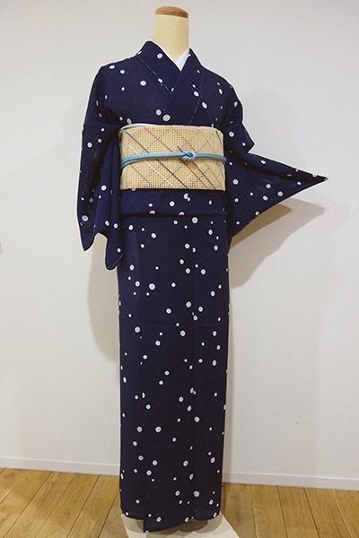 あおき【D-1530-3】絽 小紋 濃藍色 水玉文 (しつけ付)(N)