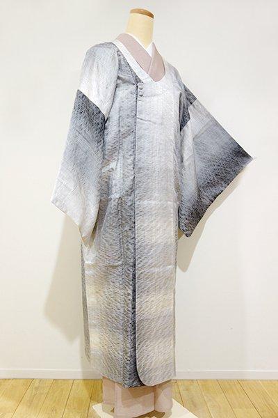 あおき【E-660】波筬織 単衣コート 白×黒 暈かし