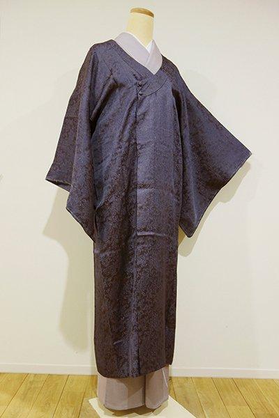 世田谷【E-665】薄物 和装コート 滅紫色 ペイズリー地紋 (しつけ付)