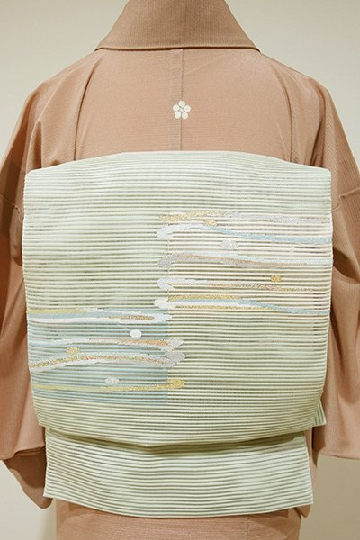 あおき【K-3939】絽綴れ 八寸名古屋帯 山葵色 抽象文
