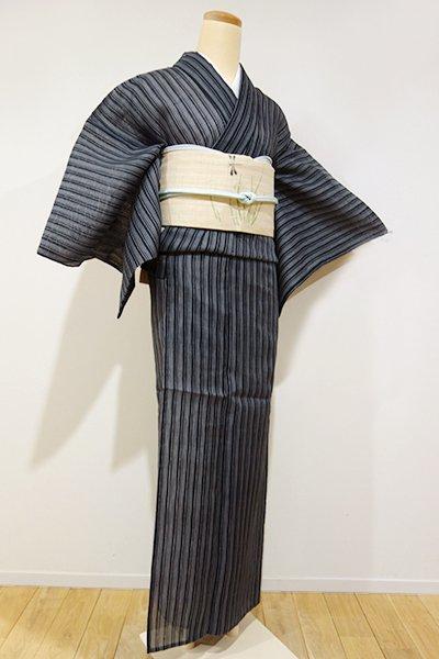 あおき【D-1538】紗紬 小紋 藍鉄色×墨色 変わり縞