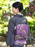 【帯2125】龍村平蔵製 夏袋帯 滅紫色「高台寺尾花」
