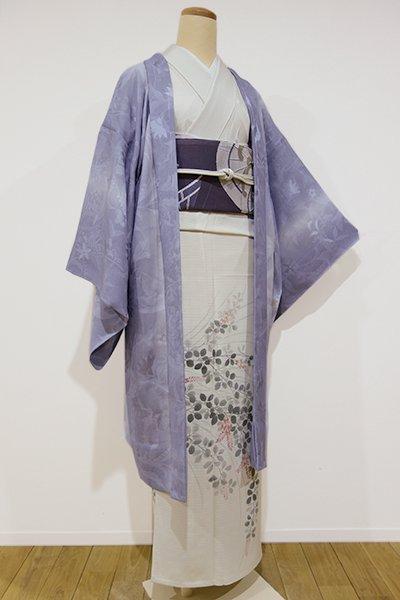 世田谷【E-670】紋紗 羽織 藤鼠色 植物の地文(新品・しつけ付)