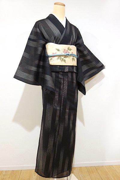 あおき【A-1998】↑Sサイズ↓←ユッタリ→紗紬 黒色 竪絣