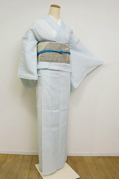 あおき【A-1999】(細め)小千谷縮 白色×水色 微塵格子