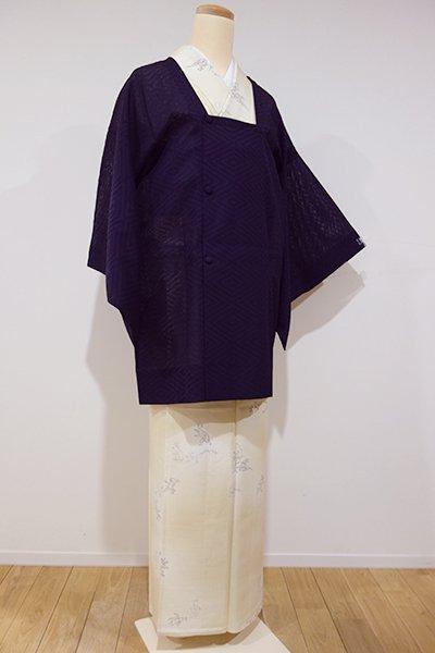 世田谷-1【E-678】紗織り 道行コート 似せ紫色 菱文