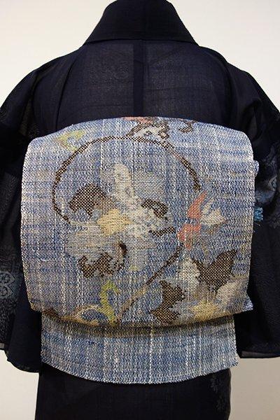 WEB限定【K-4030】紬地 夏 開き八寸名古屋帯 青藍色 花唐草文