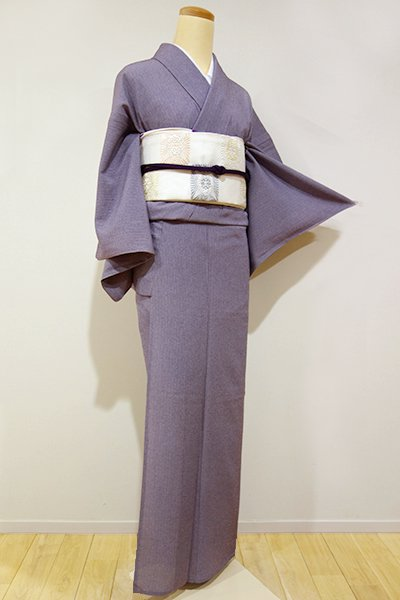 WEB限定【C-1062】(S)絽縮緬 江戸小紋 滅紫色 両面染め 万筋/鮫