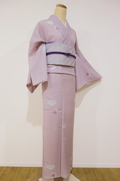 WEB限定【D-1569】トールサイズ 絽 小紋 石竹色 葵散らし(しつけ付・未使用)
