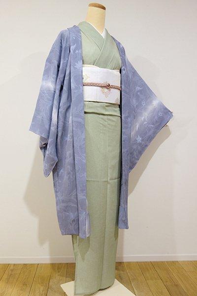 世田谷【E-680】紋紗 羽織 桔梗鼠色 竪暈かし (新品・しつけ付)