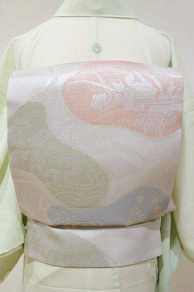 あおき【L-2780】西陣製 絽 袋帯 素色色 流水に吉祥花文(証紙付)