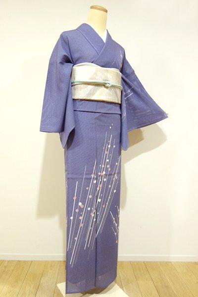 WEB限定【B-1467】絽 付下げ 紺藍色 枝花の図