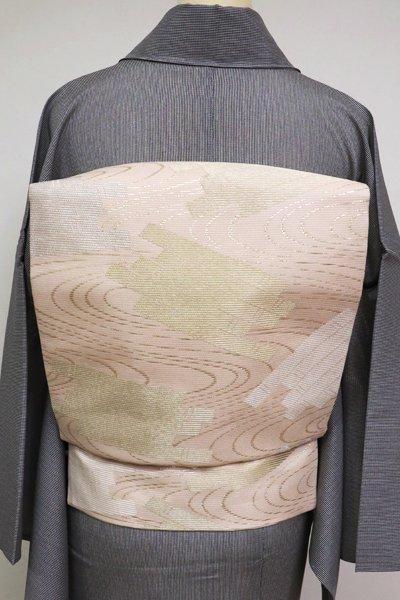 あおき【K-4086】西陣製 絽 織名古屋帯 淡い一斤染色 流水に筏の図(証紙付)(N)