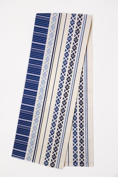 【G-768】博多織 伊達締め 白色×青藍色 献上柄(新品・証紙付)