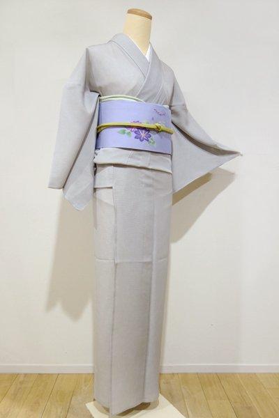 銀座【C-1077】絽 江戸小紋 絹鼠色 鮫(新品・しつけ付)