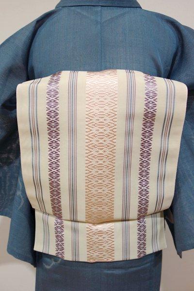 銀座【K-4095】本場筑前博多織 紗献上 八寸名古屋帯 練色×桜色(証紙付・新品)