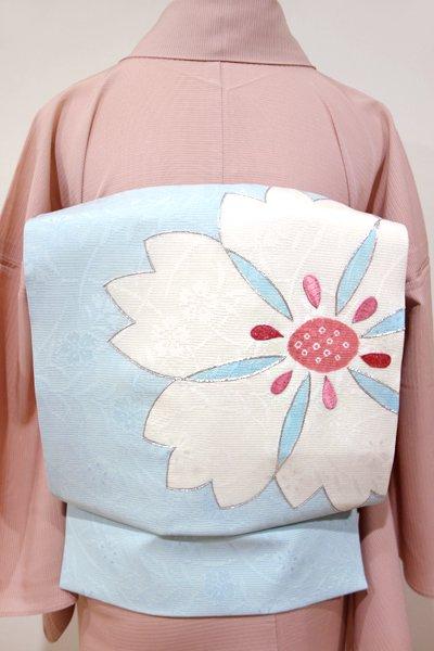 WEB限定【K-4096】絽 染名古屋帯 白藍色 撫子の図