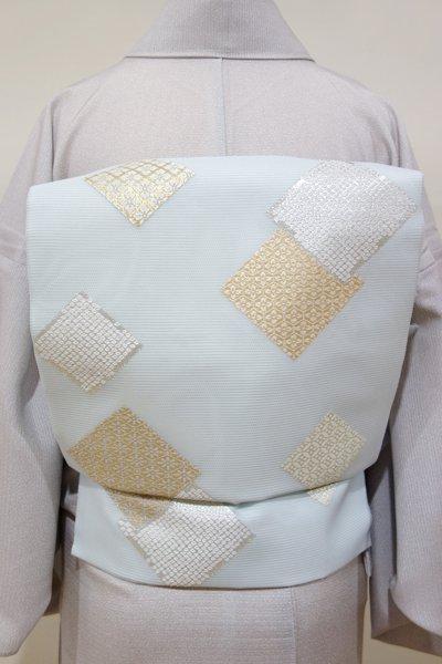 あおき【K-4102】西陣製 絽 織名古屋帯 月白色 色紙重ね文(証紙付)(N)
