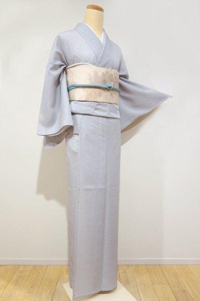 銀座【C-1081】絽 江戸小紋 白鼠色 行儀(しつけ付・新品)