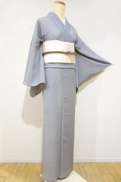 銀座【C-1082】 絽 江戸小紋 白鼠×藍墨茶色 菊菱文(しつけ付・新品)