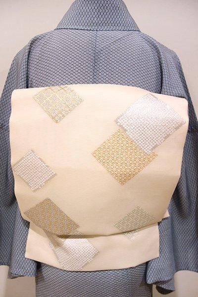 あおき【K-4106】西陣製 絽 名古屋帯 薄卵色 色紙重ね文(証紙付)(N)
