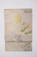 【帯2161】西陣 川島織物製 絽袋帯 白色 市松に秋草文